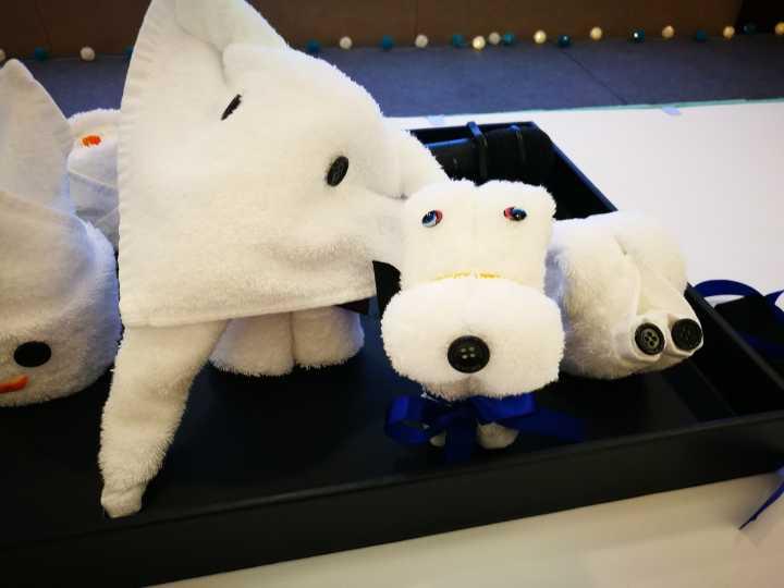 图说:一起叠这些可爱的毛巾版小动物.