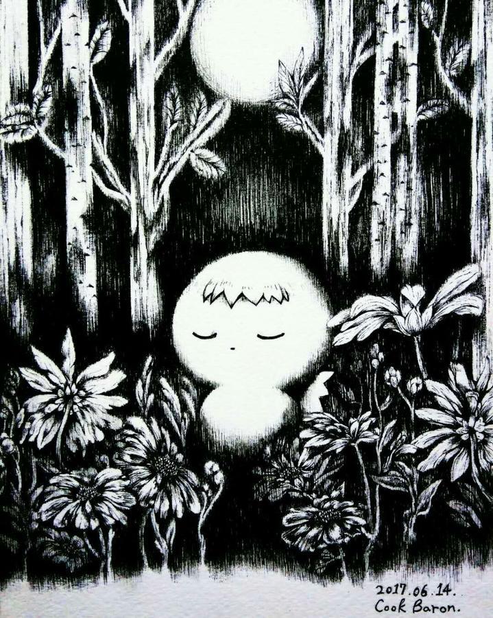 32华瑄 《月亮、我、森林》38cm×48cm 代针笔 .jpg