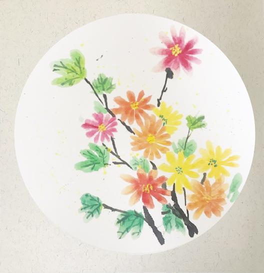 6雨桐 菊50.5x50.5cm 国画系列画作.jpg