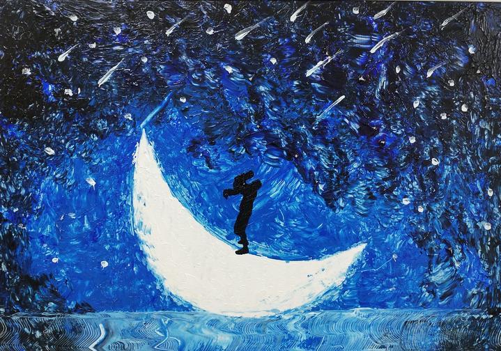 10 炜炜 月亮船54x38cm丙烯.jpg