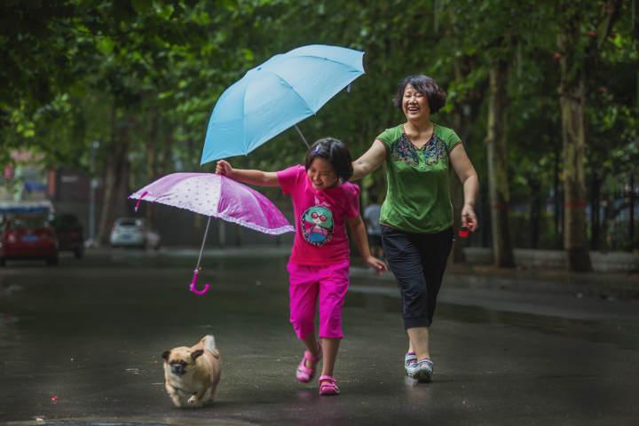 《爱心传递》 小雨中,奶奶给孙女撑起雨伞,孙女又把自己的雨伞遮在小狗狗身上…….jpg