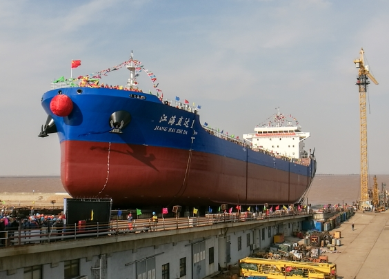 江里到沿海畅通无阻,舟山江海直达船成功接水