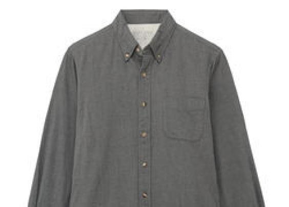 138丨无印良品  男式 棉法兰绒 人字纹纽扣领衬衫