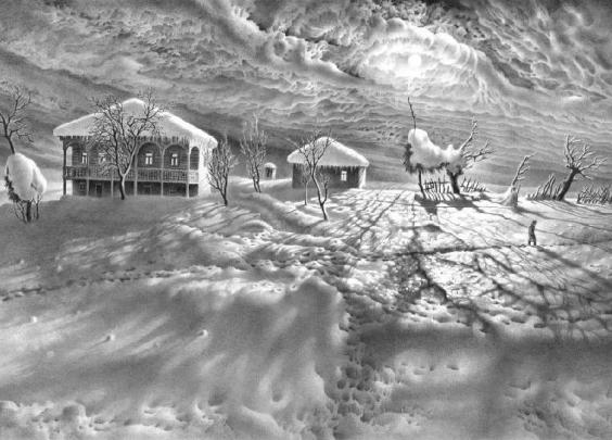 画雪61年,74岁老人一支铅笔将雪画活,普京都被骗了