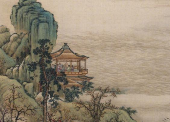 图中山水楼阁色彩清丽,人物形象生动,细节刻画精...